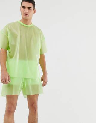 Asos Design DESIGN Festival co-ord oversized t-shirt in transparent fabric in green