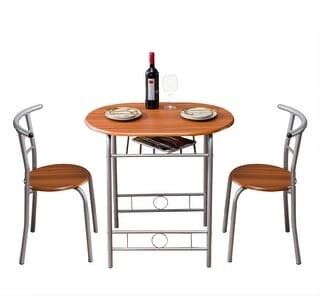 Overstock Breakfast Bar Table with 2 Bar Stools Set Kitchen Counter with Bar Chairs Brown