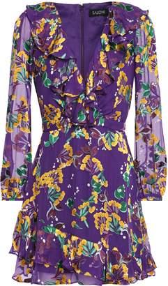Saloni Jodie Ruffle-trimmed Floral-print Devore-woven Mini Dress