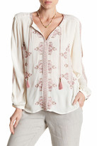 Lucky Brand Vintage Embroidered Peasant Blouse