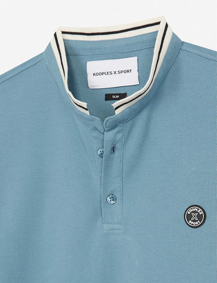 Officer-collar cotton-pique polo shirt