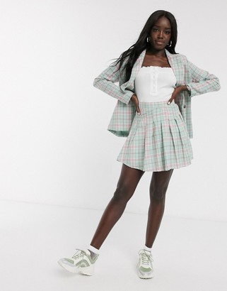 Daisy Street mini pleated skirt in vintage check two-piece
