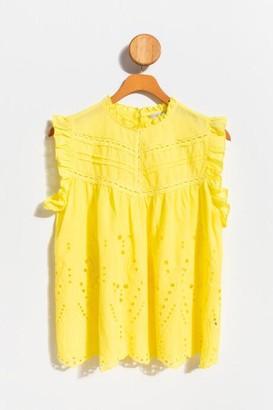 francesca's Hardin Eyelet High Neck Tank Top - Yellow