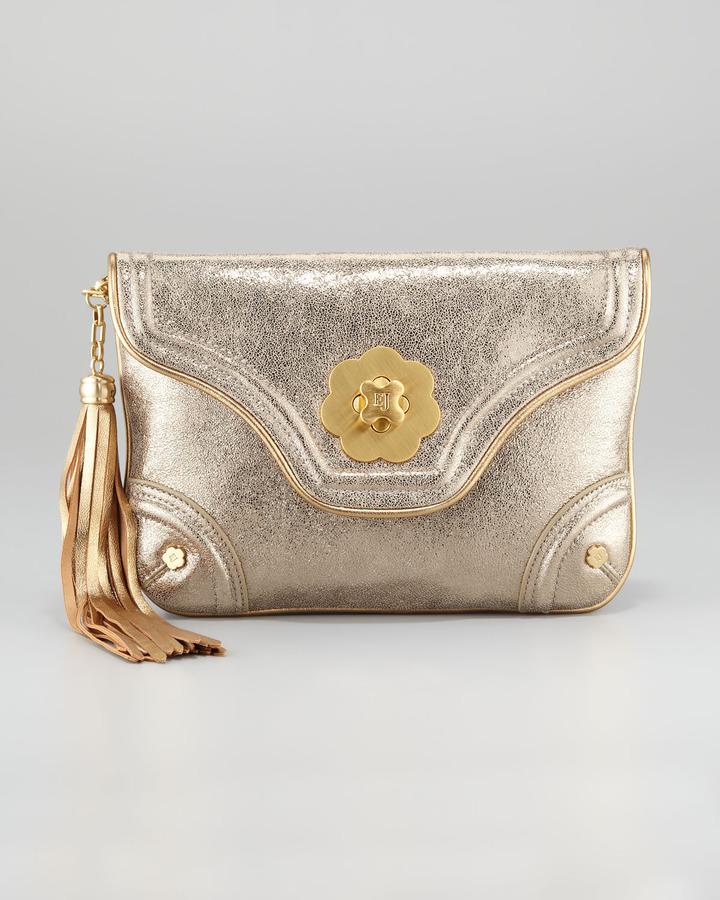 Eric Javits Metallic Mini Clutch Bag, Gold