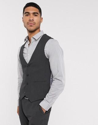 ASOS DESIGN wedding super skinny suit suit vest in charcoal four way stretch