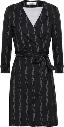Diane von Furstenberg Printed Silk And Cotton-blend Jersey Mini Wrap Dress