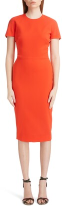 Victoria Beckham Wool Crepe Sheath Dress