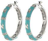 """Lauren G. Adams Lauren G Adams Silvertone Enamel Hoop Earringsw/ """"X"""" Design"""