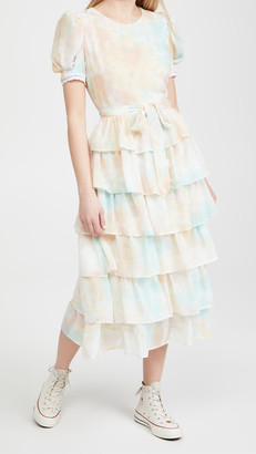 ENGLISH FACTORY Tie-Dye Tiered Midi Dress
