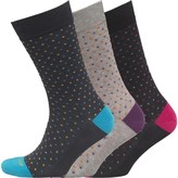 Duchamp Mens Three Pack Egyptian Cotton Contrast Toe and Heel Socks Grey Pink Spot