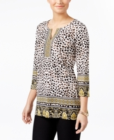 JM Collection Petite Embellished Printed Tunic, Created for Macy's