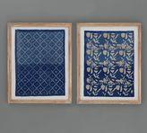 Pottery Barn Framed Blue Textile Art