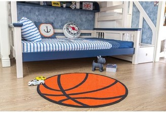 """Zoomie Kids Round Nieman Sports Children Tufted Orange/Black Area Rug Rug Size: Round 3'3"""""""