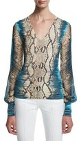 Roberto Cavalli Long-Sleeve Mixed-Print Top, Brown/Turquoise