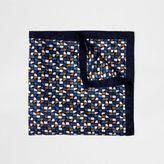 River Island Blue Geometric Print Pocket Square