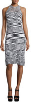 Elie Tahari Josie Sleeveless Fitted Sweater Dress, Black/White