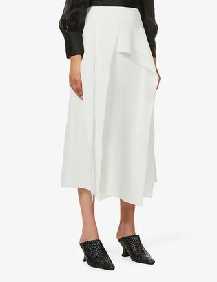 AKIRA NAKA Concha raw-cut high-waist woven midi skirt
