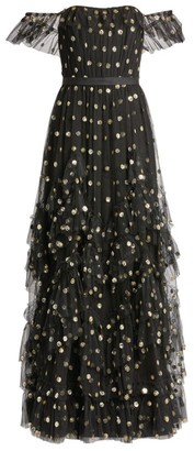 Marchesa Embellished Off-The-Shoulder Tiered Gown