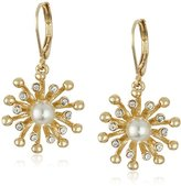 "Anne Klein Into The Garden"" Gold-Tone Pearl and Crystal Flower Leverback Drop Earrings"