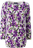 Lands' End Women's Tall Supima 3/4 Sleeve Print Sweater-Celestial Blue Floral