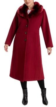 Anne Klein Plus Size Faux-Fur Collar Maxi Coat
