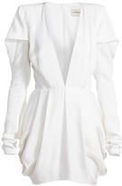 Alexandre Vauthier Pleated Shoulder Deep V-Neck Mini Dress