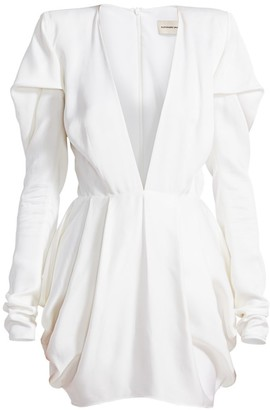 Alexandre Vauthier Pleated Shoulder Deep V-Neck Mini Dress