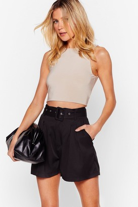 Nasty Gal Womens Dancing Never Belt So Good High-Waisted Shorts - Black - L