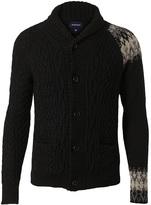 Miharayasuhiro Wool-blend Fair Isle cable knit cardigan