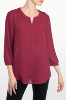 NYDJ Georgette 3/4 Blouse With Pleated Back In Petite