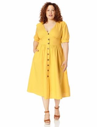 City Chic Women's Apparel Women's Plus-Size Casual midi Dress with Balloon Sleeve Dress