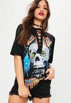 Missguided Death Metal Skull Lace Up T Shirt Black