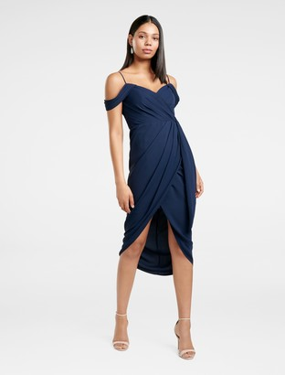 Forever New Hadley Petite Waterfall Midi Dress - Navy - 4
