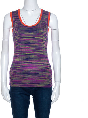 M Missoni Multicolor Knit Contrast Trim Sleeveless Tank Top M