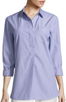 Liz Claiborne Long-Sleeve Stripe Clip Dot Tunic Shirt - Tall