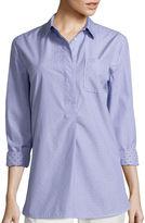 Liz Claiborne Long-Sleeve Stripe Clip Dot Tunic Shirt - Tall