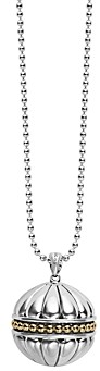 Lagos 18K Gold & Sterling Silver Caviar Talisman Beaded Band Ball Pendant Necklace, 34
