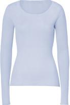 Dear Cashmere Chintz Blue Cotton-Cashmere Scoop Neck Pullover