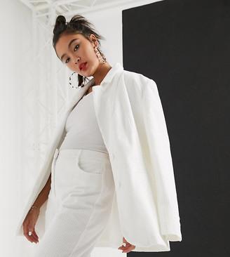 Collusion oversized cord blazer in white