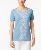 Alfred Dunner Blue Lagoon Beaded Embroidered Top