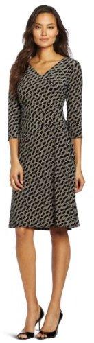 Evan Picone Women's Printed Matte Jersey Side Tie Dress