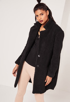 Missguided Teddy Faux Shearling Coat Black