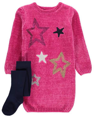 George Pink Sequin Star Jumper Dress and Tights Outfit