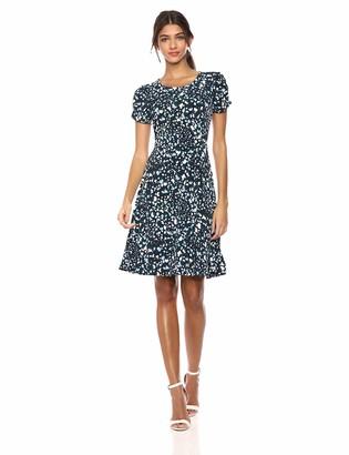 Lark & Ro Amazon Brand Women's Gathered Short Sleeve Crew Neck Fit and Flare Dress