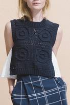 Sea Sleeveless Hand Knitted Top