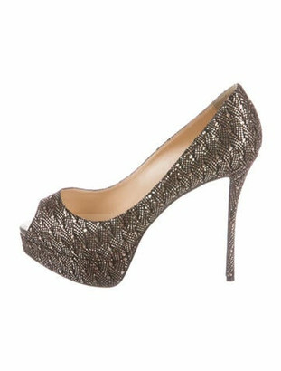 Christian Louboutin Glitter Lady Peep Pumps Gold