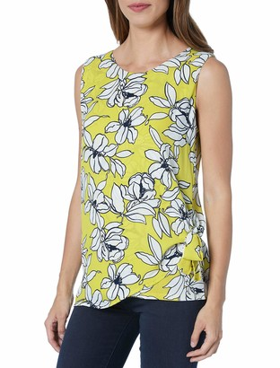 Chaus Women's Sleeveless Mixed Media Side Tie Flower Print Top