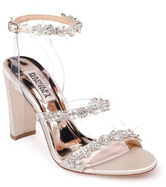 Badgley Mischka Adel Embellished Glitter Block Heel Pump