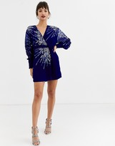 Asos Edition EDITION velvet wrap mini dress with embellished placement