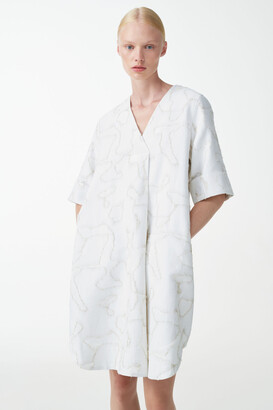 Cos Jacquard V-Neck Cotton-Linen Dress